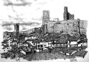 Pintura-Pintada-a-Mano-Tinta-Sobre-Papel-Un-Castillo-Cinco-Villas-Zaragoza