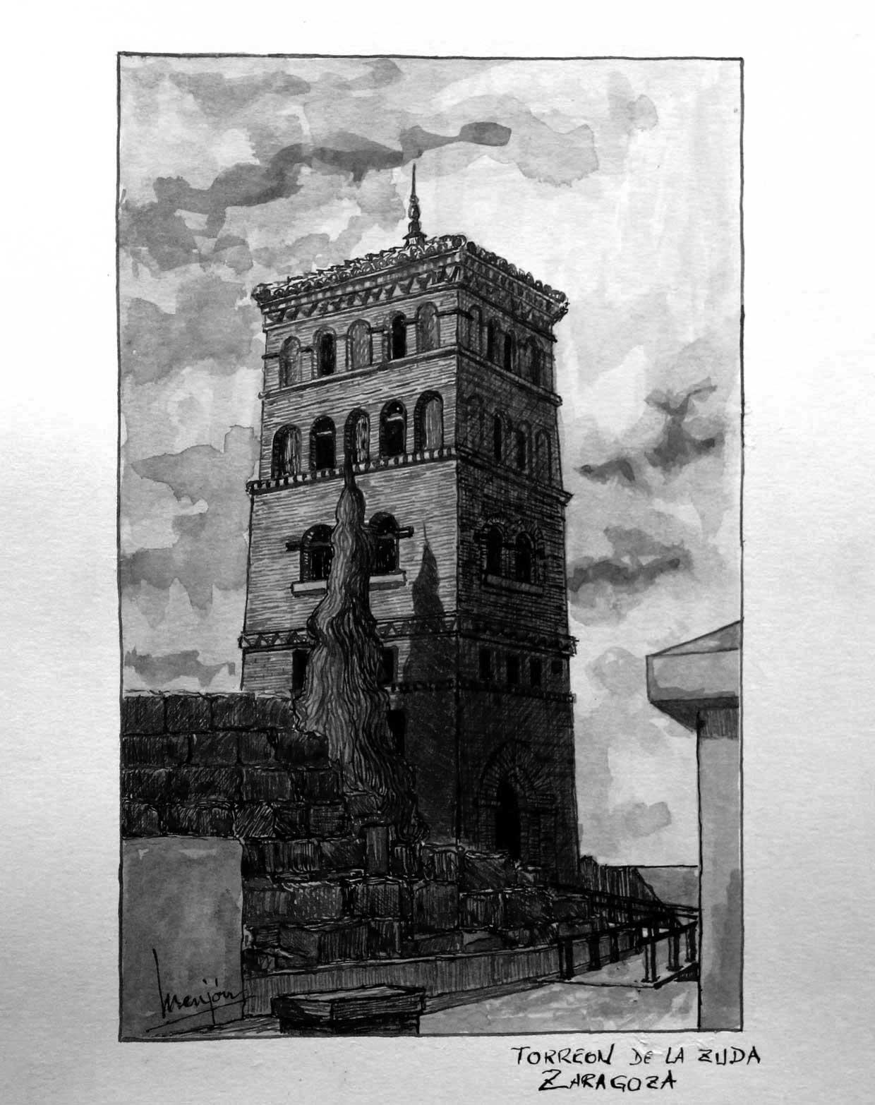Pintura-Tintas-y-Aguadas-Torreon-de-la-Zuda-Zaragoza-BN-91x115cm