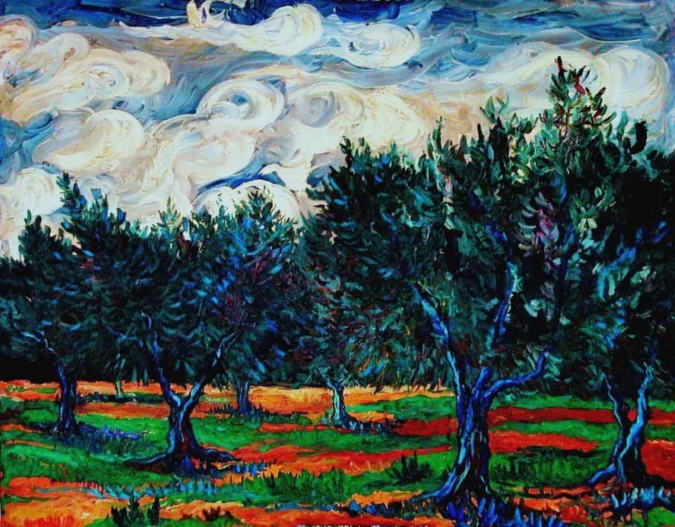 Cuadro Empeltres y tormenta oleo sobre lienzo (92x73cm)