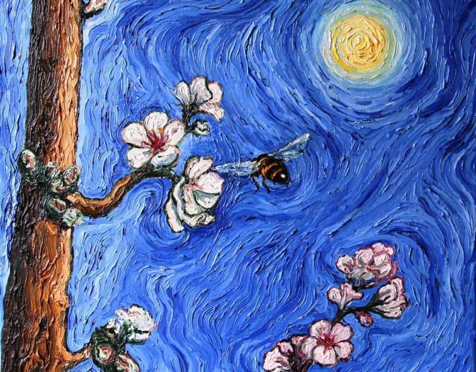 Cuadro Oleo sobre Lienzo Flores de Almendro 3, 50x50cm
