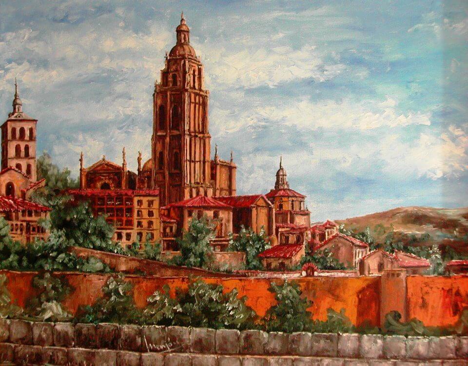 Cuadro oleo sobre lienzo Segovia desde Alczar 50x60cm