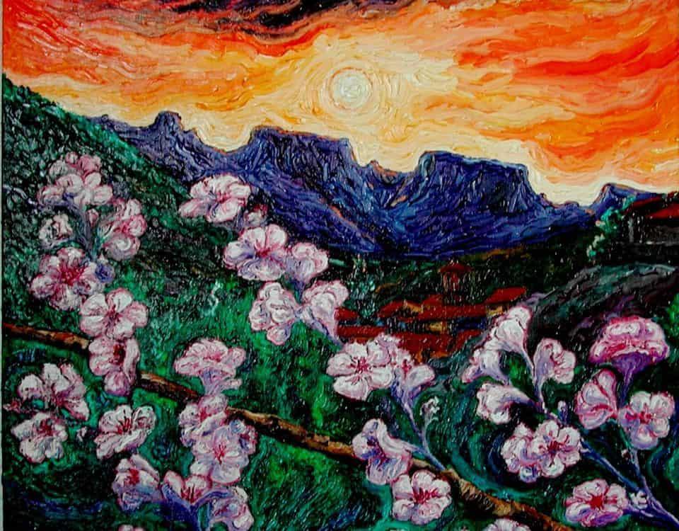 Cuadro Flores de almendro_1 (óleo sobre lienzo3D 60x50)