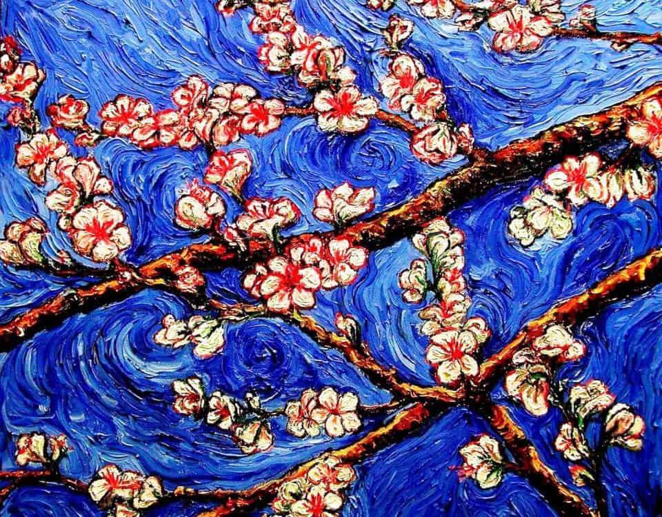 Flores de almendro_2 (óleo sobre lienzo3D 50x50cm)