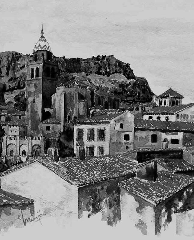 Pintura-Acuarela-Albarracin-BN-28x20cm-tecnicas
