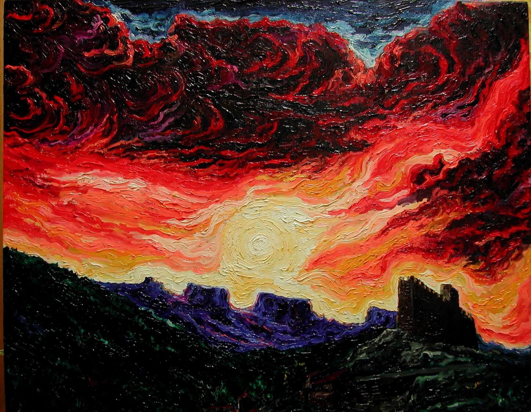 Pintura oleo sobre tablex Arden los montes 75x60cm