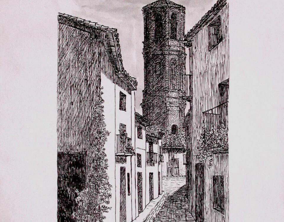 Andorra. (Teruel, Ruta del Tamborl) Tinta Sobre Papel 42x29,5