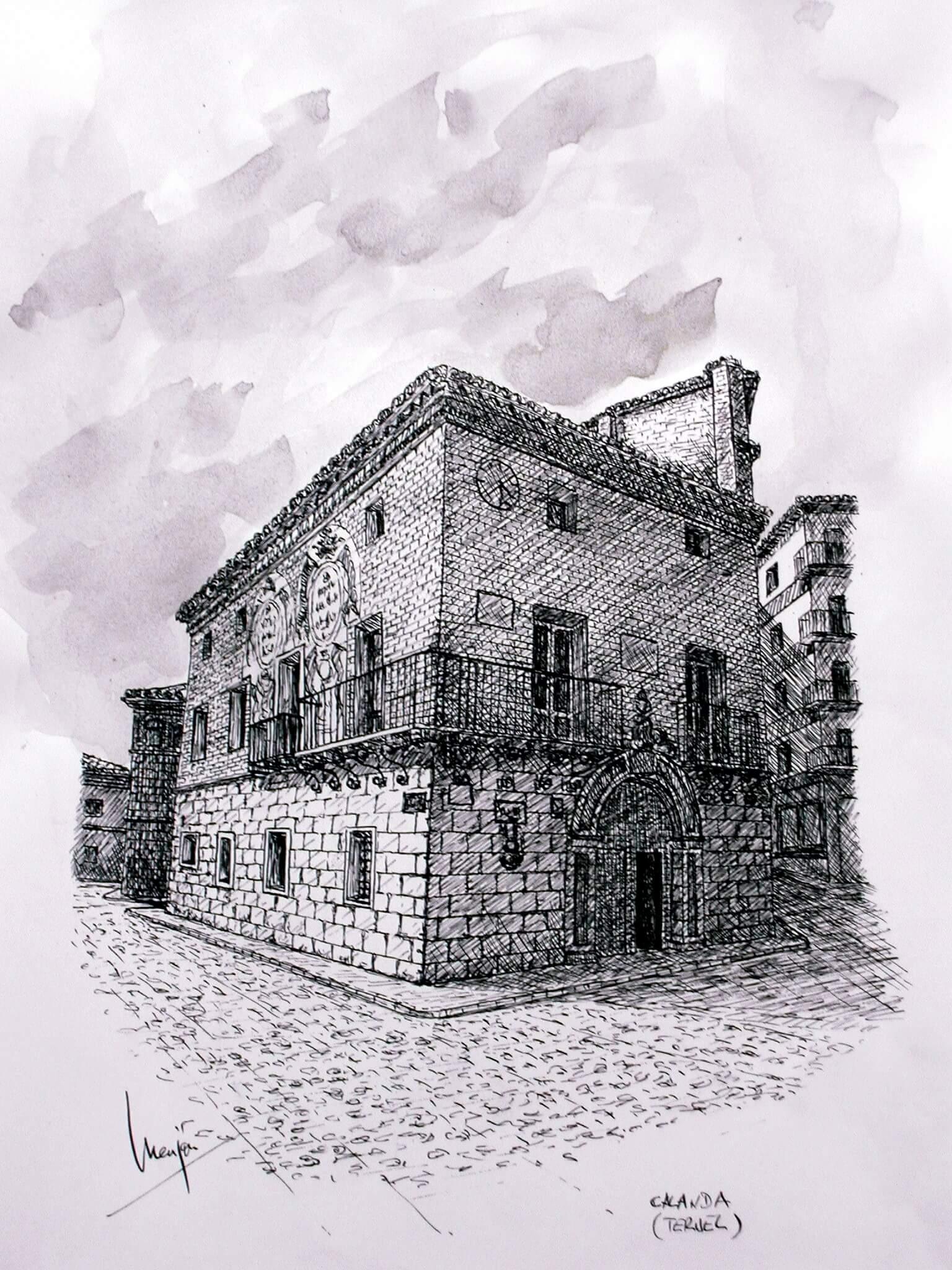 Casa Consistorial Calanda. (teruel Ruta Del Tambor)tinta Sobre Papel 42x29,5cm