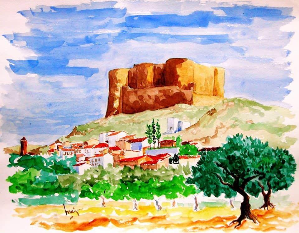 Castillo De Mesones De Isuela (zaragoza España)acuarela Sobre Papel Papel 65x50cm