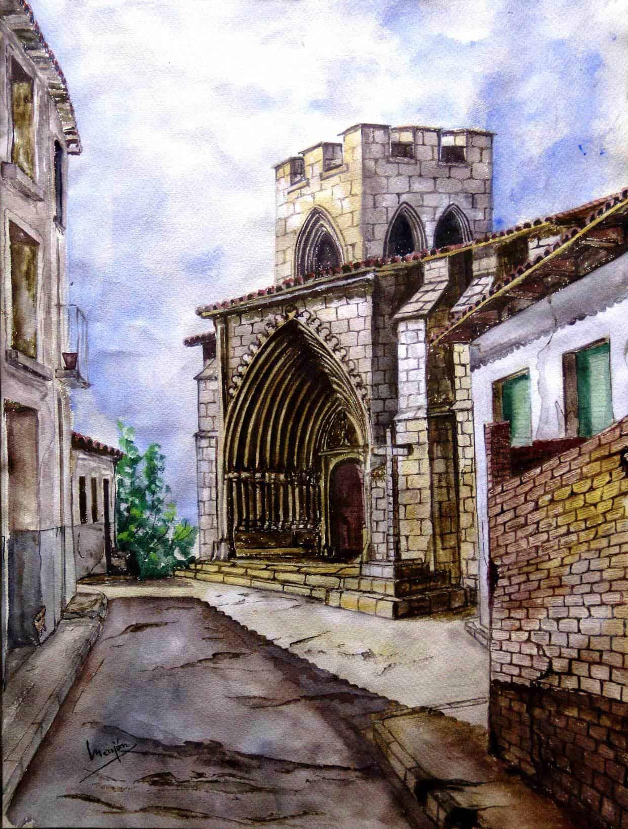Cuadro Gouache Iglesia Fortaleza Santa Maria Aranda de Duero