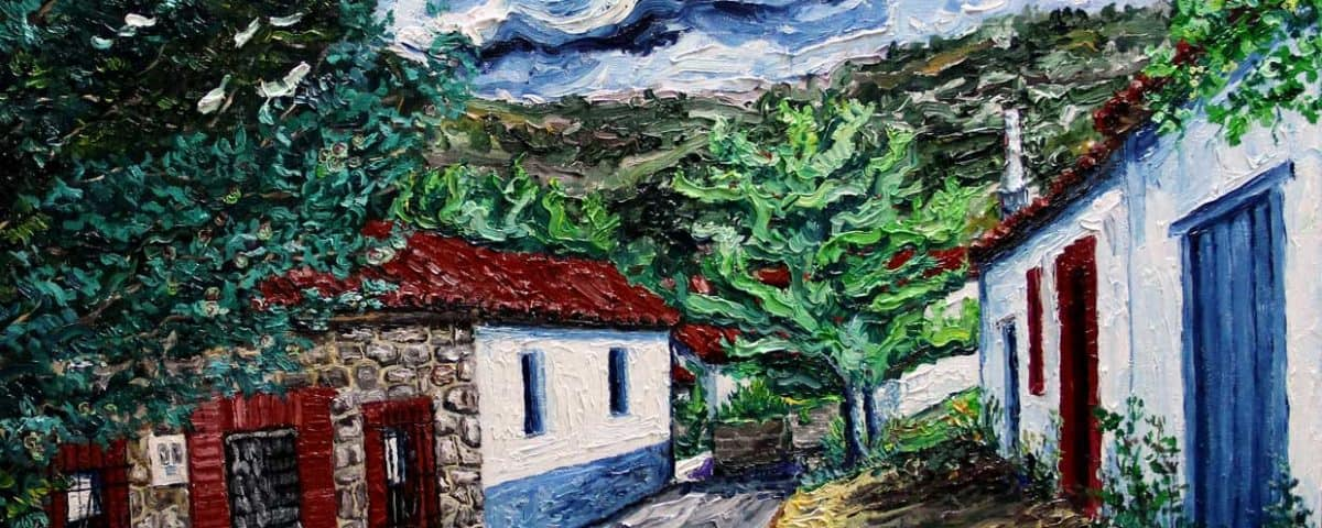Cuadro oleo sobre lienzo Casa y hornera Valmartino_Leon 65x54cm