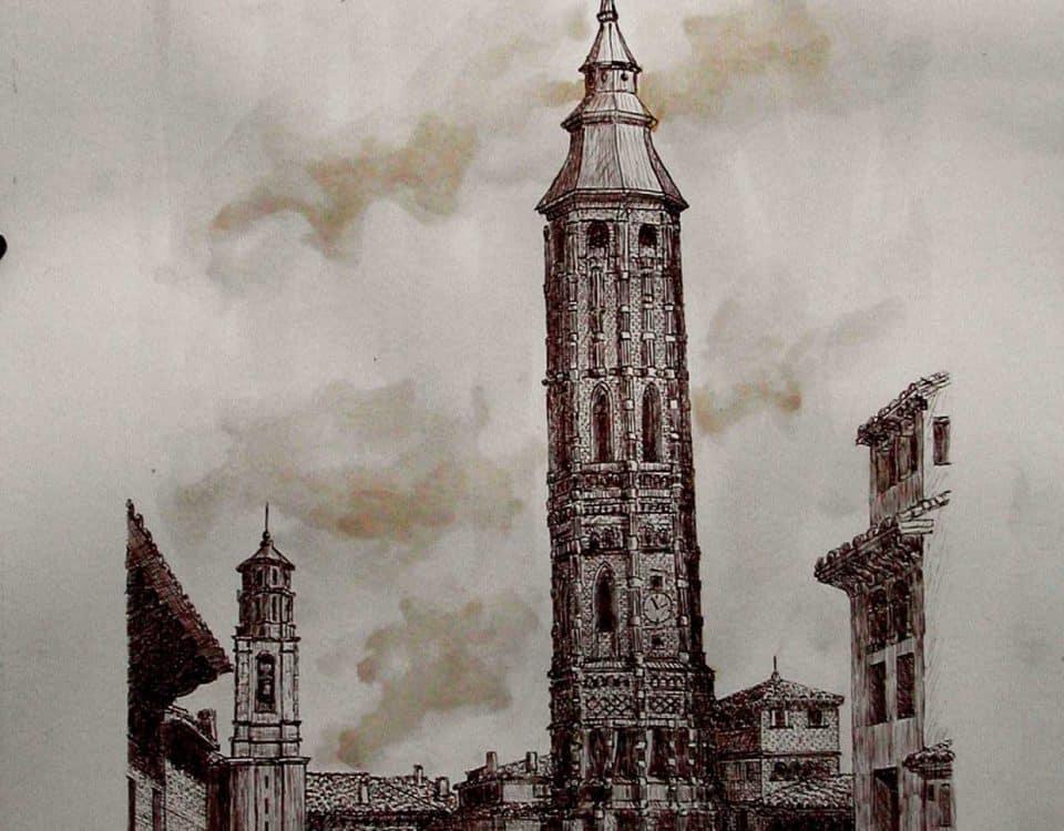 Cuadro Tinta Sepia sobre Papel Torre Nueva Inclinada 3,9º Zaragoza