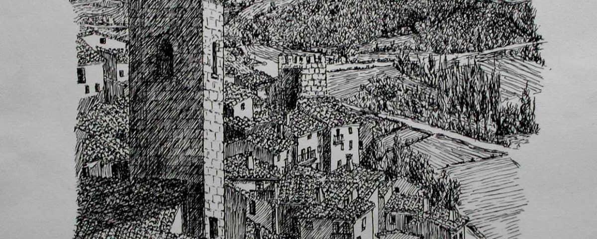 Cuadro Tinta sobre Papel Sos del Rey Catolico Cinco Villas Zaragoza