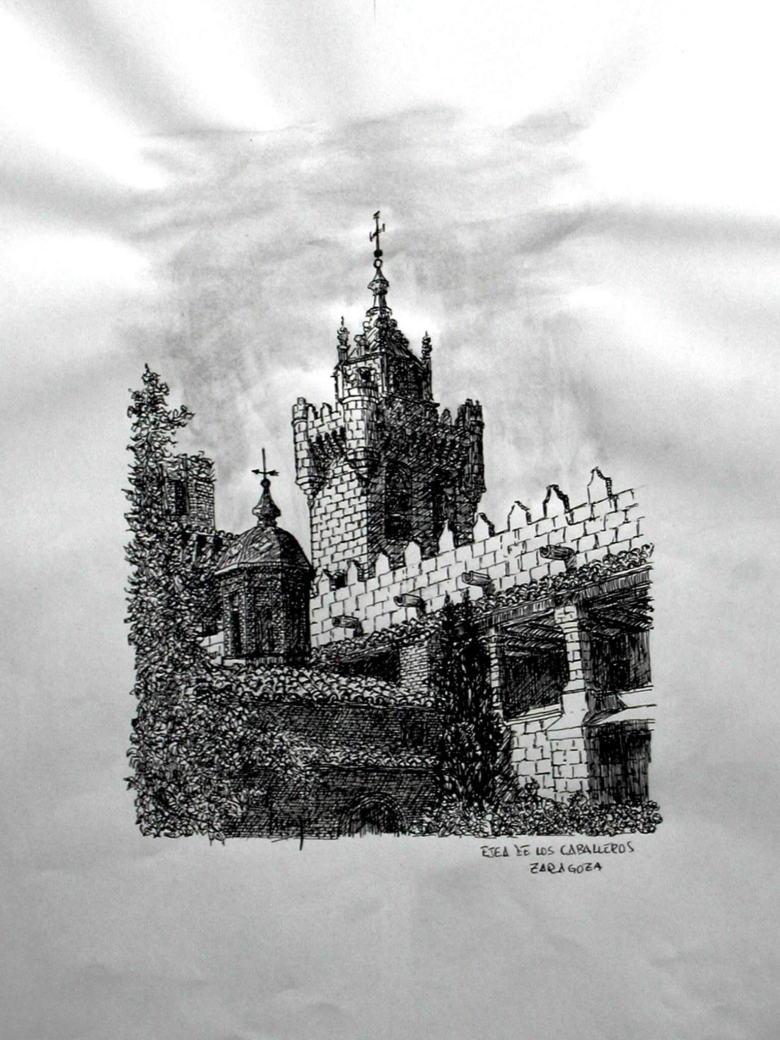 Torre de la iglesia del salvador de Ejea de Los Caballeros (cinco Villas, Zaragoza) Tinta Sobre Papel42x29,5cm