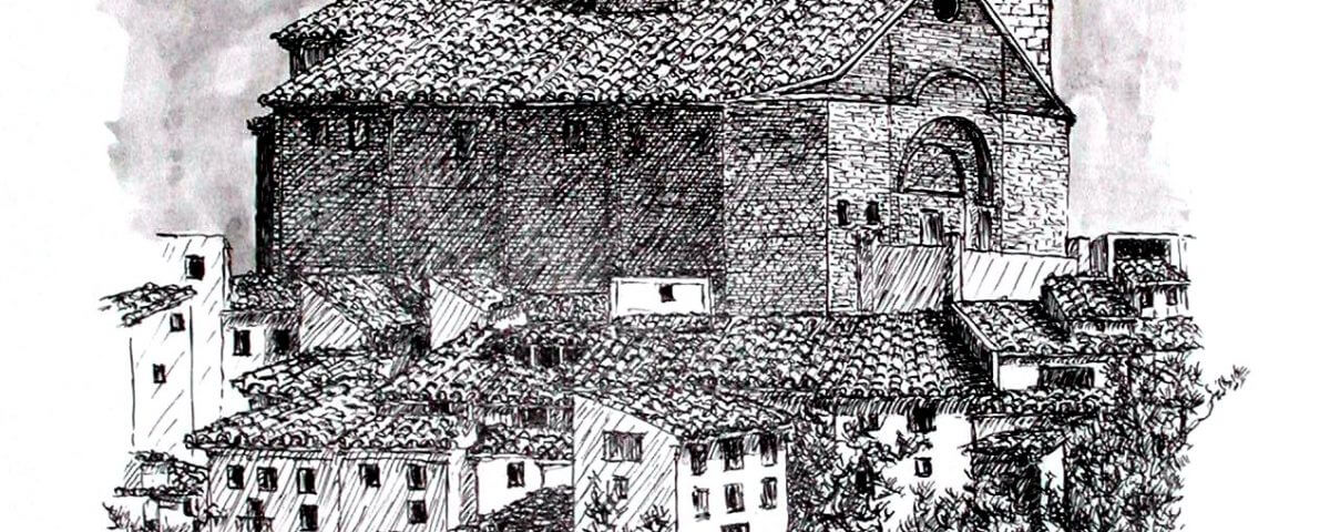 La Puebla De Hijar (teruel, Ruta Del Tambor) Tinta Sobre Papel 42x29,5cm