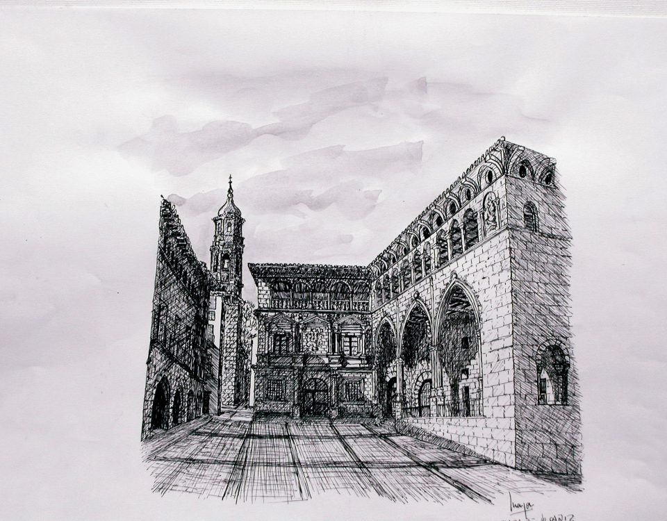 Lonja y Casa Consistorial de Alcañiz. (Teruel Ruta del Tambor) Tinta Y Aguada Sobre Papel) 42x29,5cm