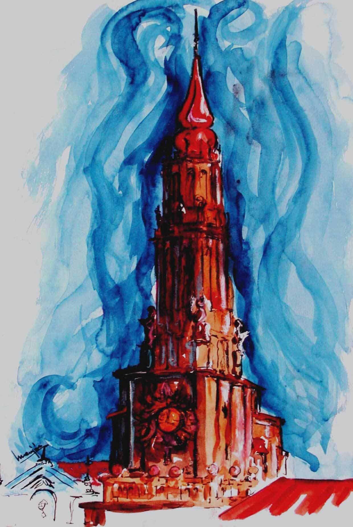 Pintura Acuarela Torre de La Seo Zaragoza
