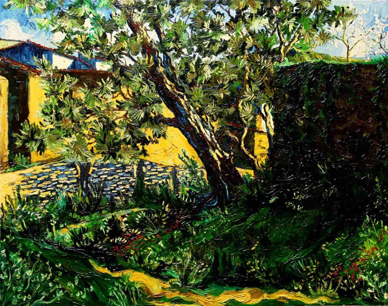 Pintura oleo sobre lienzo Camino del lavadero 93x72cm