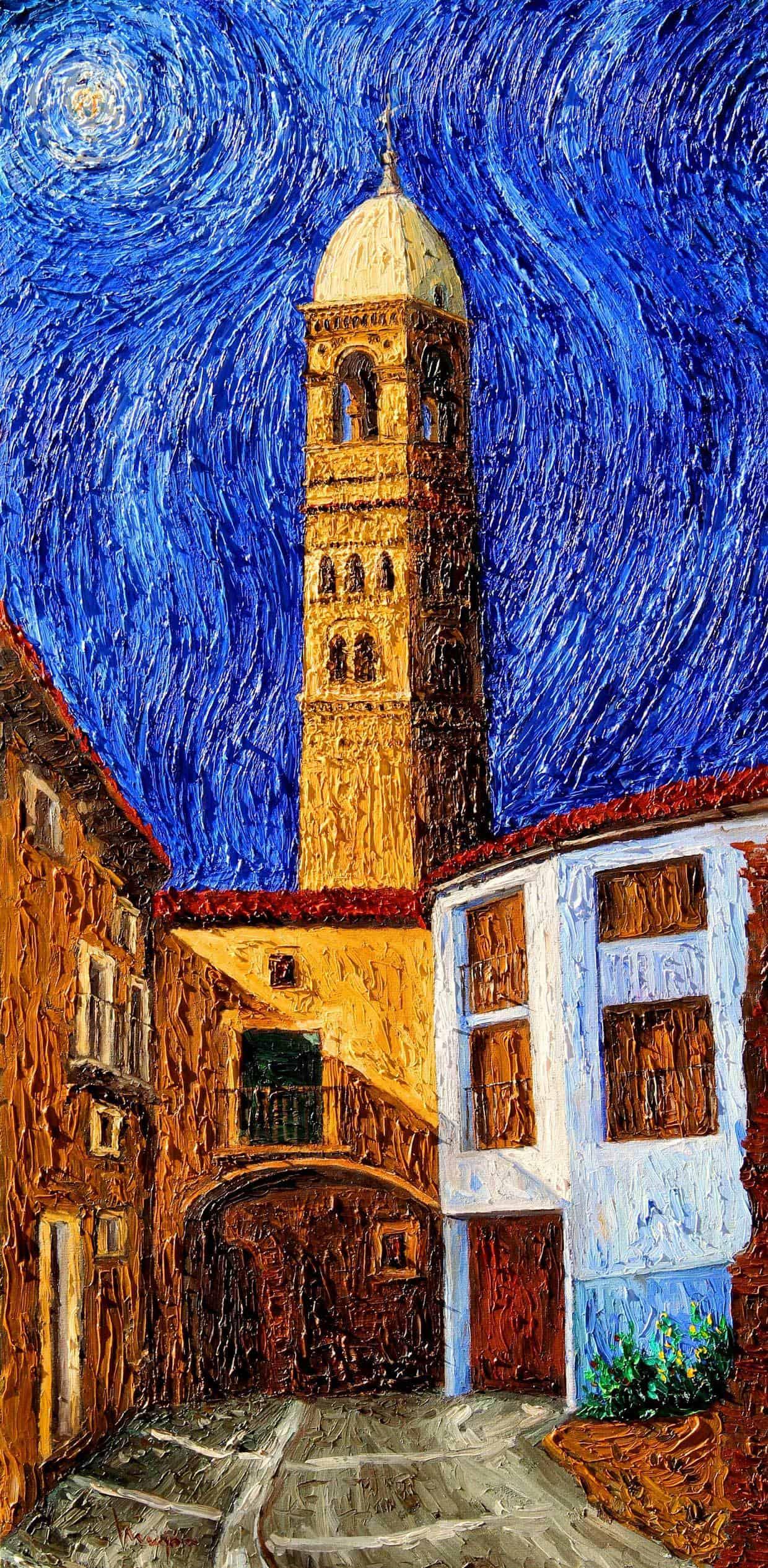 Pintura Oleo sobre Lienzo Torre de la Magdalena Tarazona 100x50cm