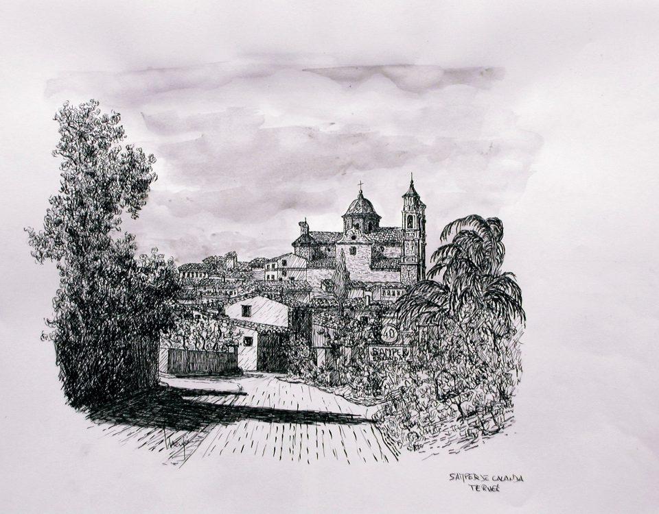 Samper De Calanda. (Teruel, Ruta del Tambor) Tinta y Aguada Sobre Papel 42x29,5cm