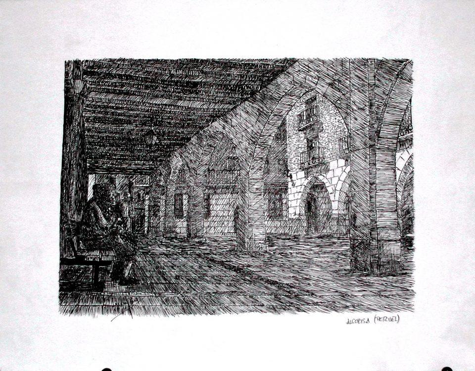 Soportales Alcorisa. (Teruel, Ruta del Tambor) Tinta Sobre Papel 42x29,5cm