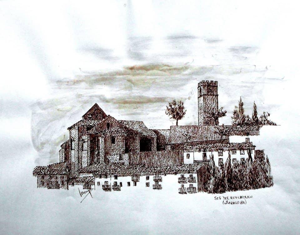 Sos Del Rey Catolico (cinco Villas, Zaragoza) Tinta Sepia Sobre Papel42x25cm