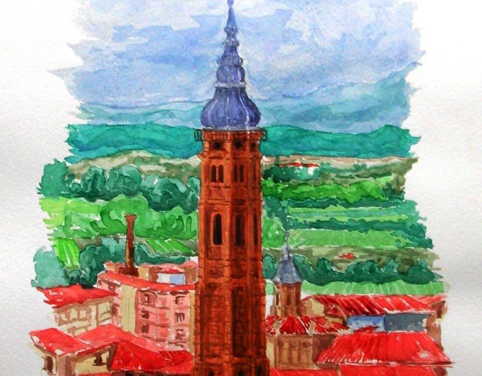 Torre De Santa Maria La Mayor De Calatayud (zaragoza España) 46x32cm