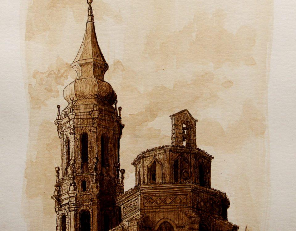 Torre Y Cimborrio Catedral De La Seo De Zaragoza (españa) Tinta Sepia Sobre Papel 32x24