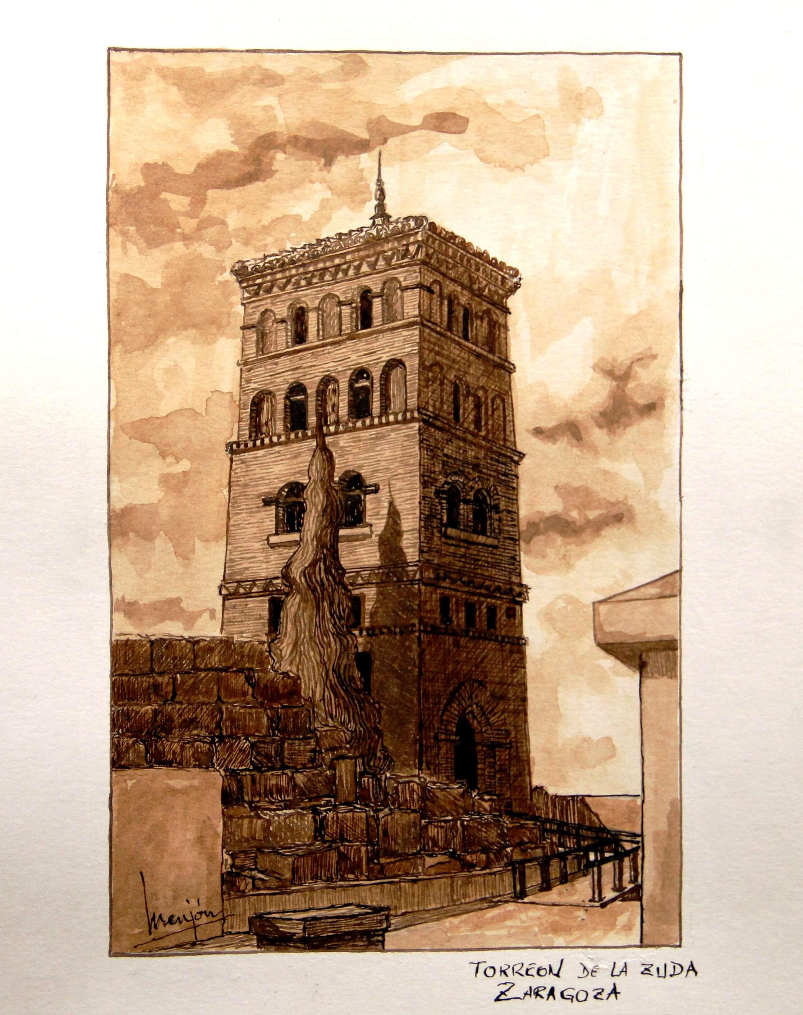 Torreon De La Zuda De Zaragoza(españa) Tinta Sepia Sobre Papel 32x24cm