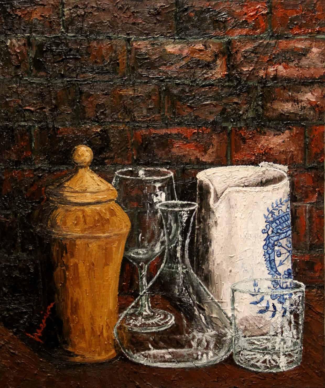 Bodegon critales oleo sobre lienzo 55x46 cm