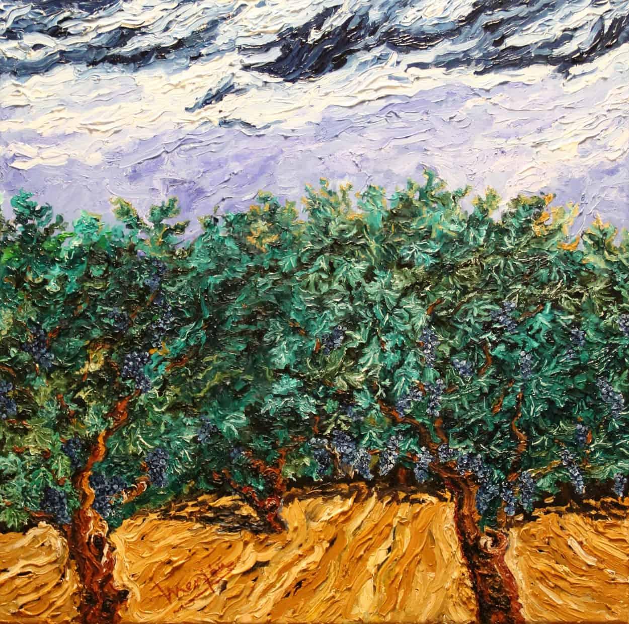 Viña verde oleo sobre lienzo 3D 60x60 cm