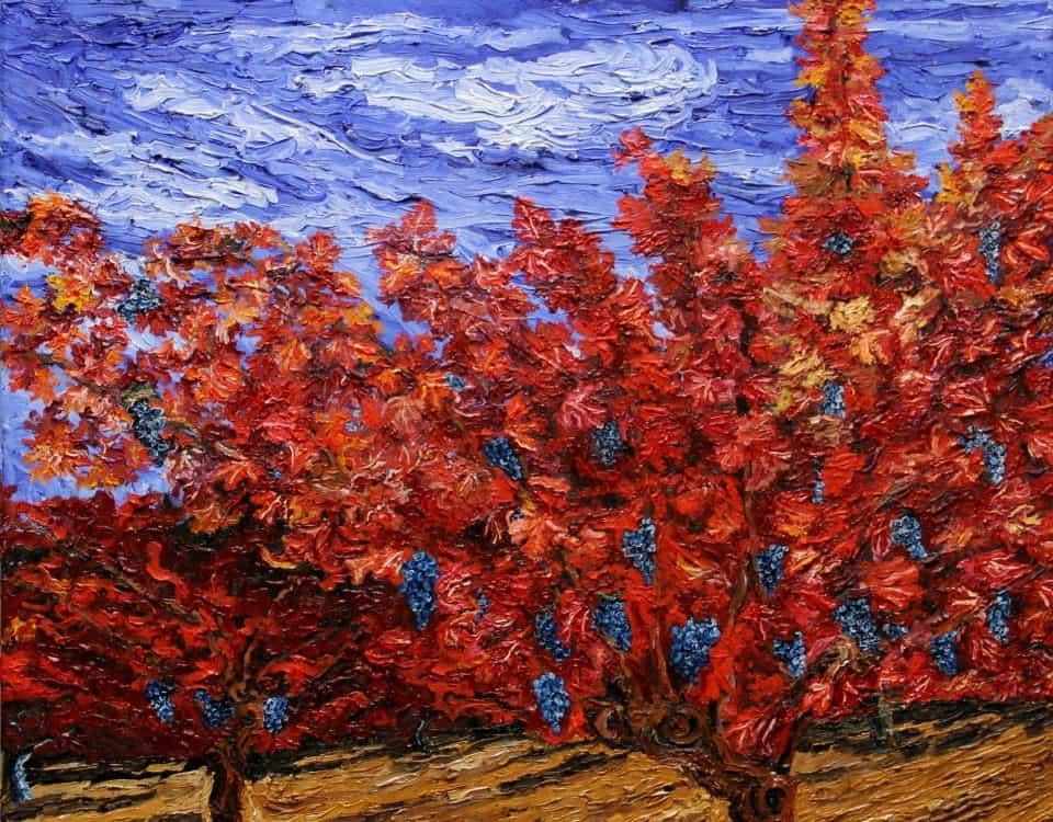 Viñedo Rojo óleo Sobre Lienzo 3D 60x60 cm